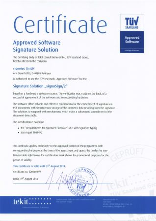 tuev certification signosign2