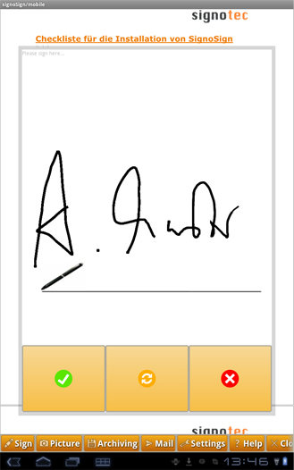 Android Phone as a signature pad
